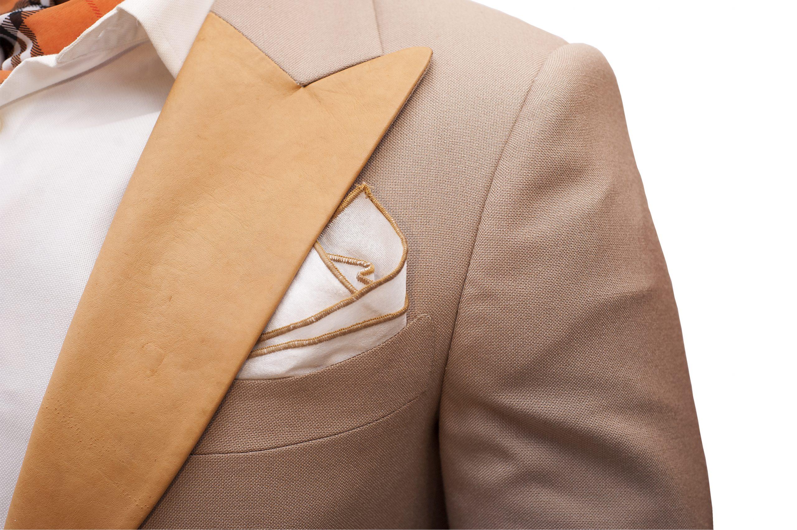 Leather lapel unique beige wedding tuxedo Nairobi Kenya