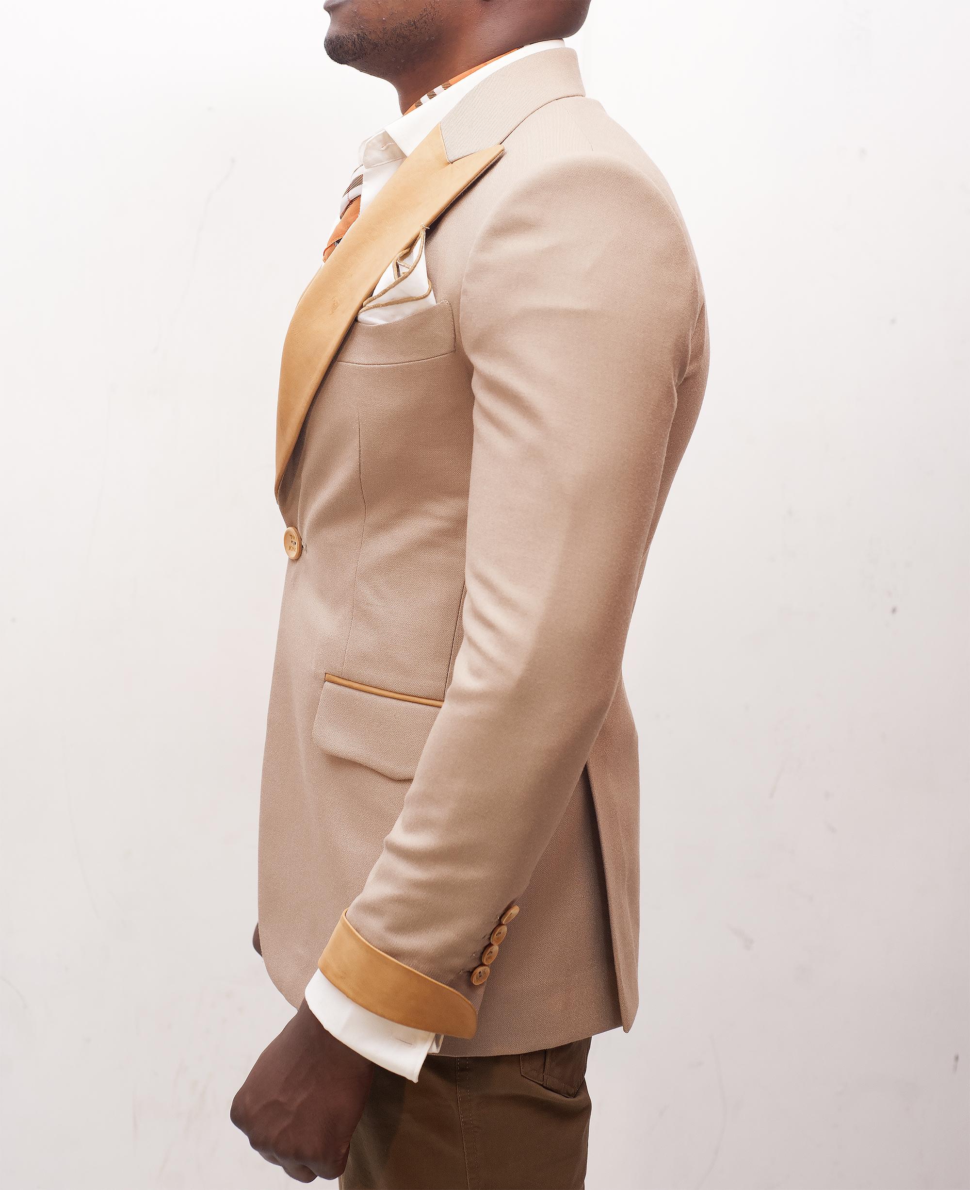 Unique beige wedding tuxedo in Nairobi Kenya beige side view