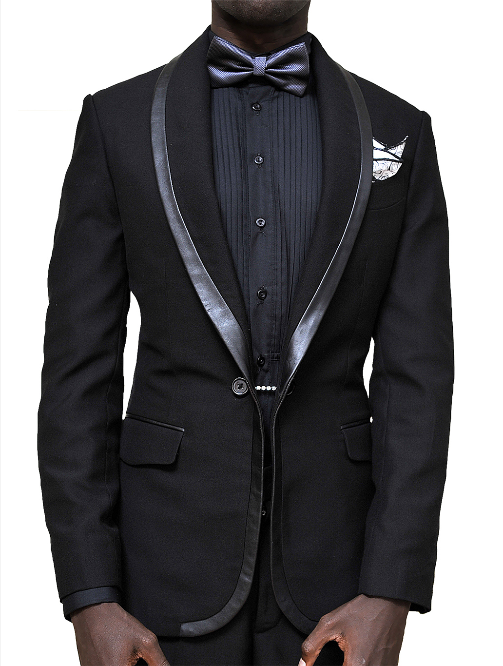 Black designer leather trim tuxedo