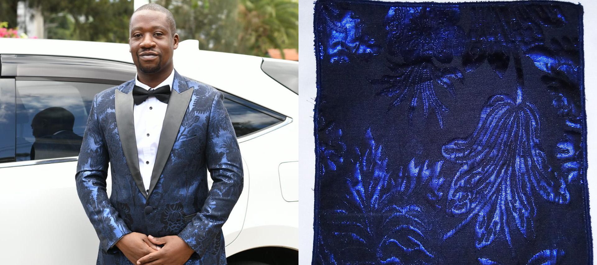 Blue brocade dinner jacket for wedding appearance Kenya